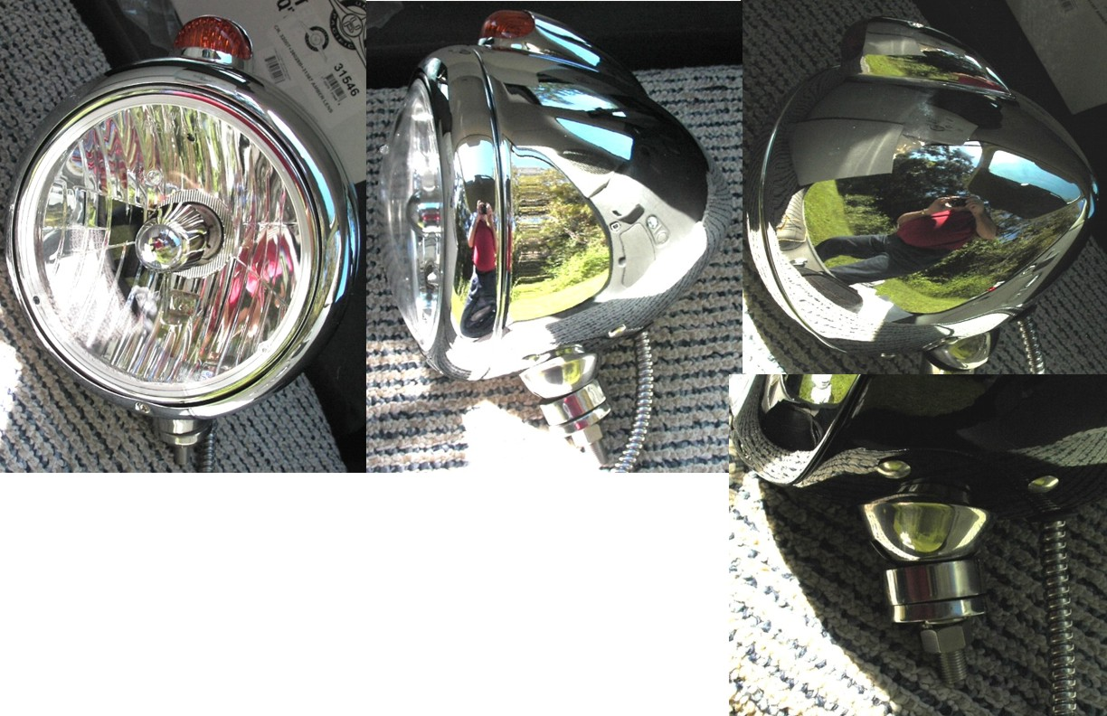 Chrome Caddy Style Bottom Mount Headlight